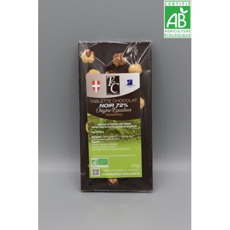 Tablette chocolat noir 72% noisette