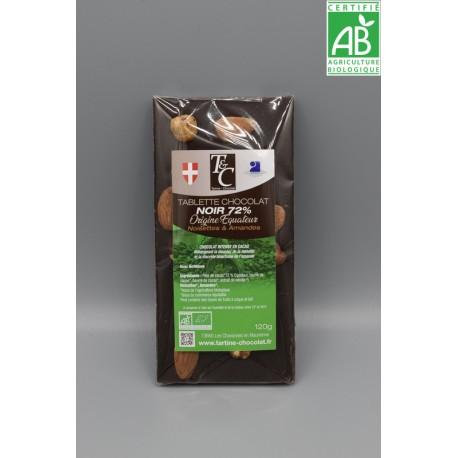 Tablette chocolat noir 72% noisette amandes