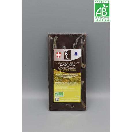 Tablette Chocolat Noir 72% Citrons confits
