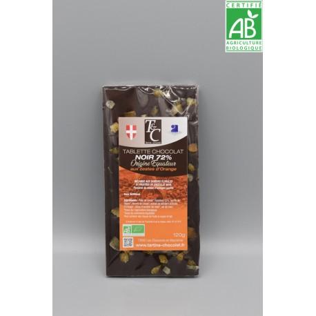 Tablette Chocolat Noir 72% aux zestes d'orange